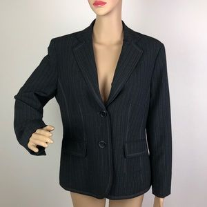 Anne Klein Stretch Blazer Pinstriped Grey Career